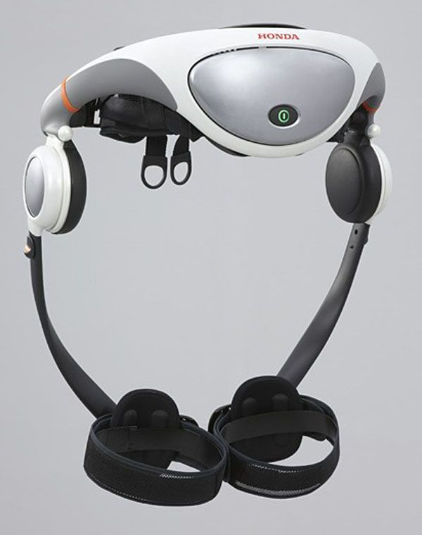 This wearable device can use for two hours of walking at 4.5 kmh (2.8 mph) and it comes in small, medium and large sizes. The control computer and batteries sit in the back case and a DC motor sits on each hip.