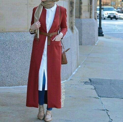 red-long-trench-coat-hijab- Cozy winter coats with hijab http://www.justtrendygirls.com/cozy-winter-coats-with-hijab/