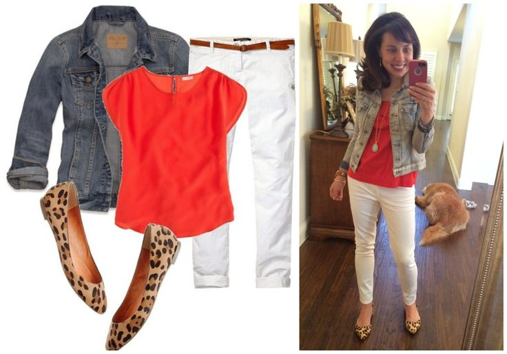Pinterest Told Me To Wear Orange, White, Denim, and Leopard.......Pinterest is So Dang Smart.