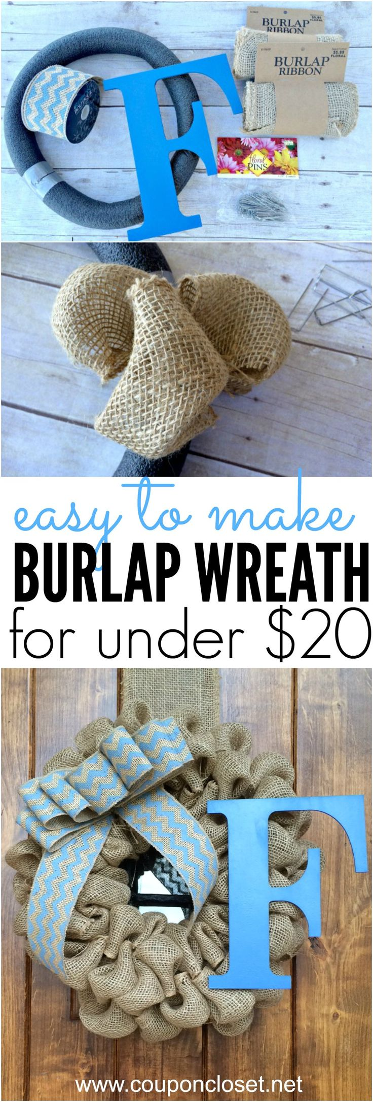 How to Make Burlap Wreath for about only $15. This burlap wreath is super easy to make and makes a great gift idea.