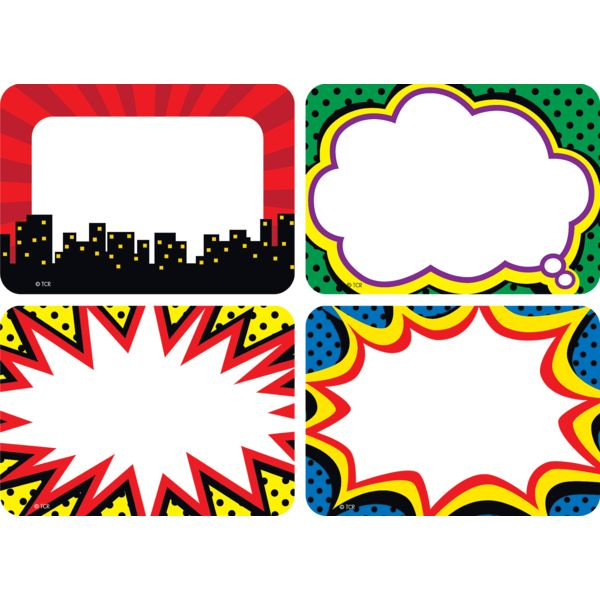 TCR5587 Superhero Name Tags/Labels - Multi-Pack Image