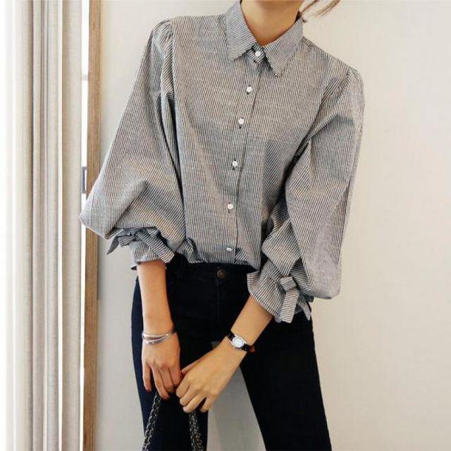 送料込 ¥2,600 バルーン袖 ランタンスリーブ ストライプ ブラウス 春コーデ 韓国ファッション | Rayca!