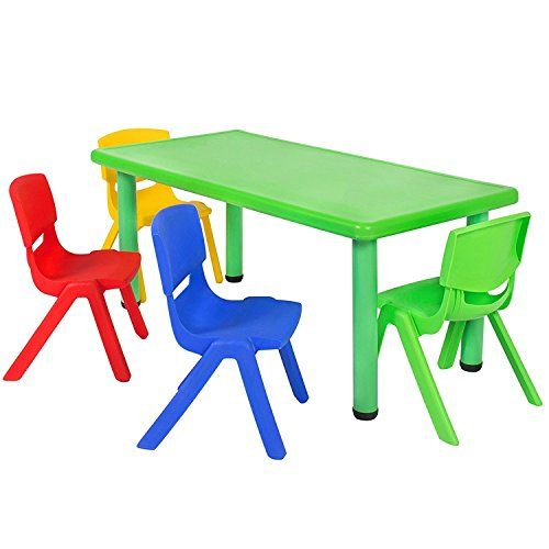 Best Choice Products Multicolored Kids Plastic Table And 4 Chairs Set  Colorful Furniture Play Fun School Home