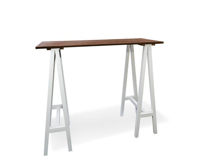 Carpenter Bar Table (white legs, walnut top) - South Coast Party Hire