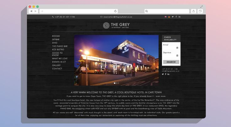 The Grey Hotel, Cape Town | KNOWN DESIGN CO  @TheGreySA #Webdev #website #CSS3 #HTML5 #jQuery #PHP #Responsive #Wordpress #design