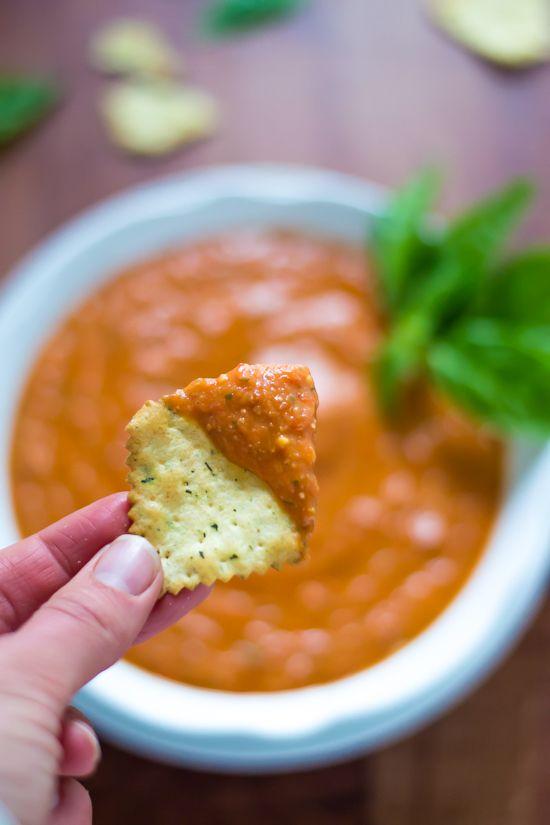 Skinny Roasted Red Pepper Parmesan Dip