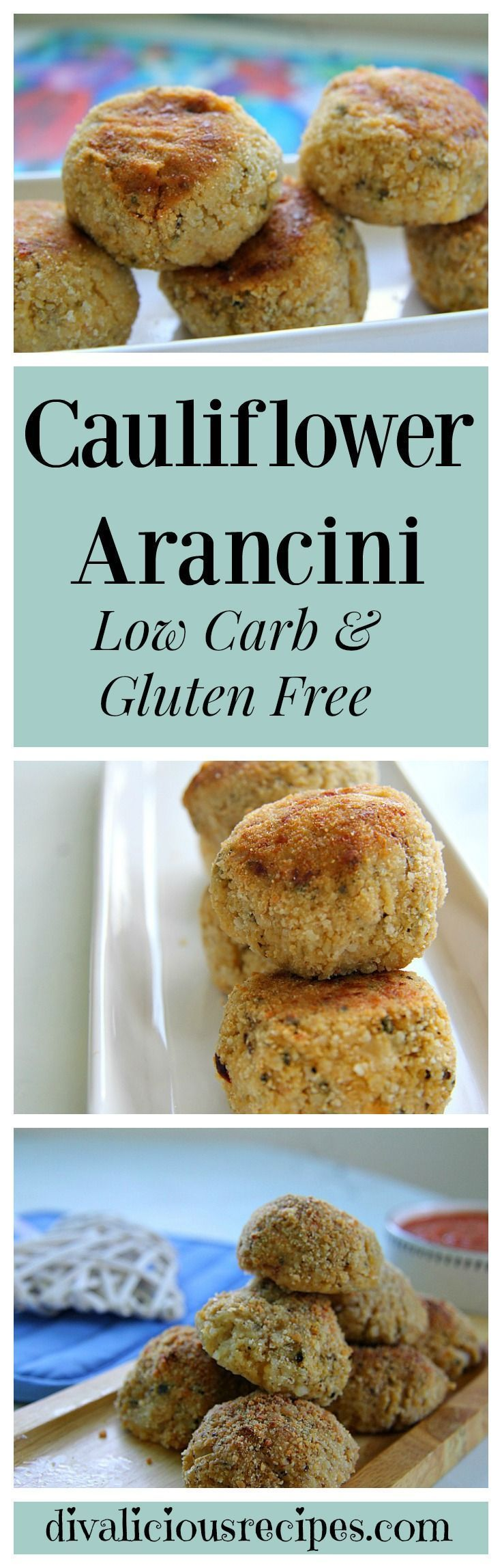 Cauliflower arancini made with cauliflower rice with a spicy mozzarella cheese molten filling are a healthier alternative. These are great served alone or with a delicious Marinara sauce. Recipe: http://divaliciousrecipes.com/2017/03/02/cauliflower-aranci