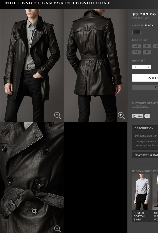 Burberry Mens Leather Trench Coat Fall 2013 Clothing