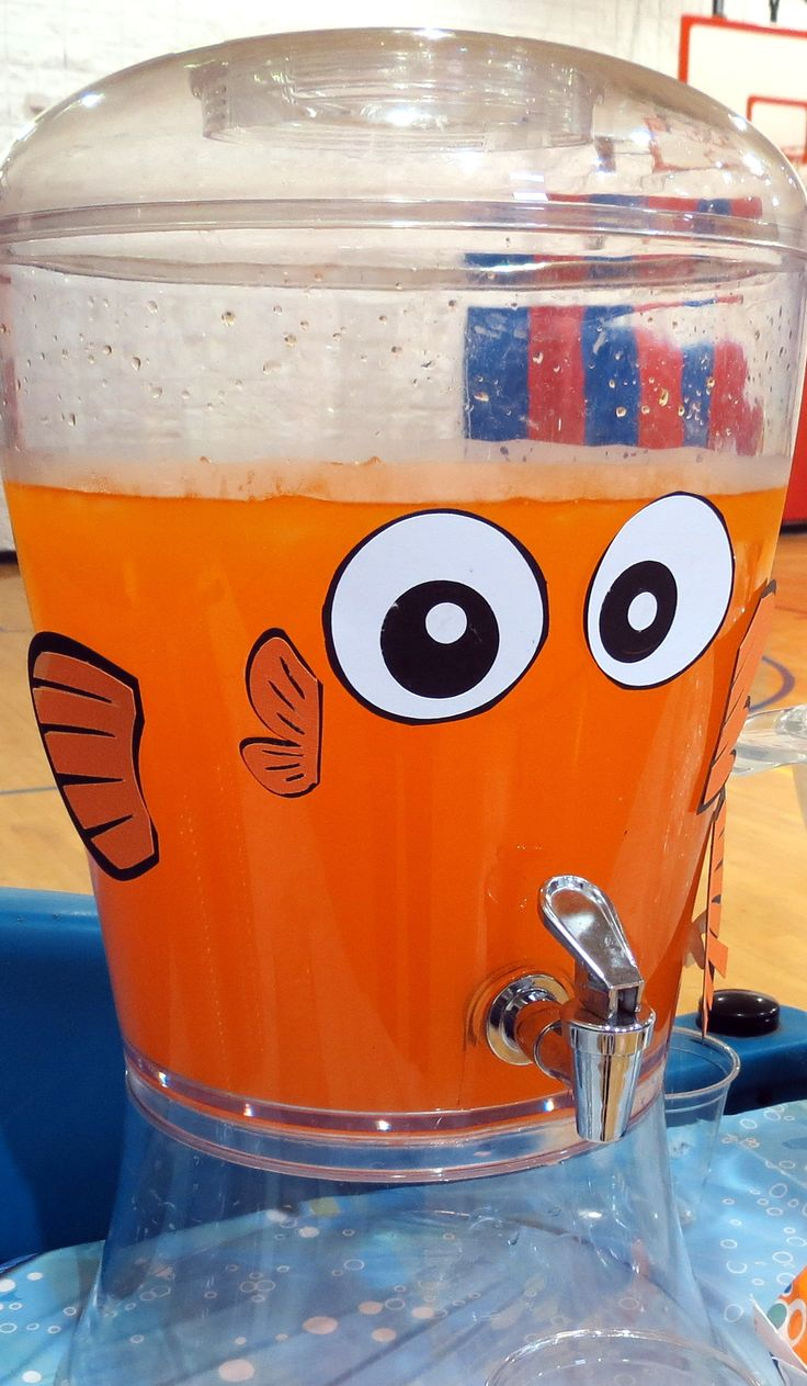 Finding Dory/Nemo Party Food/Drink- Orange Hawaiian Punch in a Dispenser decorated like Nemo.