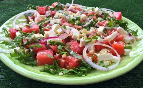 Innamorarsi in cucina: Insalata raw all'anguria, rucola e feta