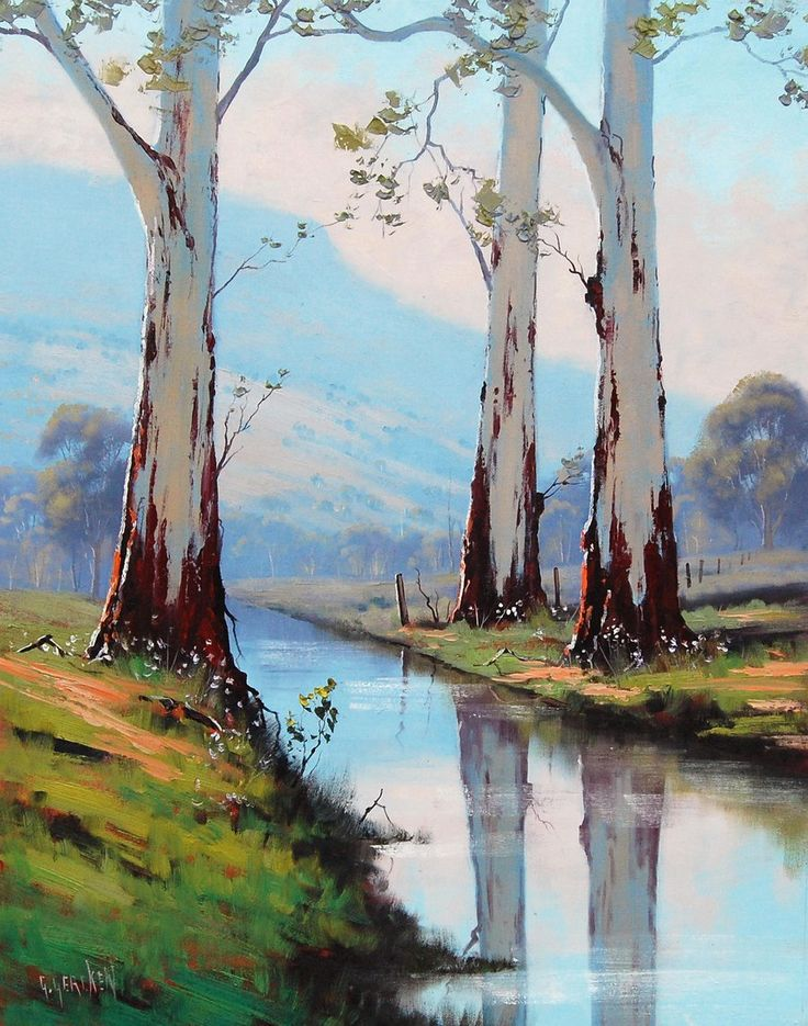 eucalyptus trees Original Oil Painting Trees landscape River Painting…
