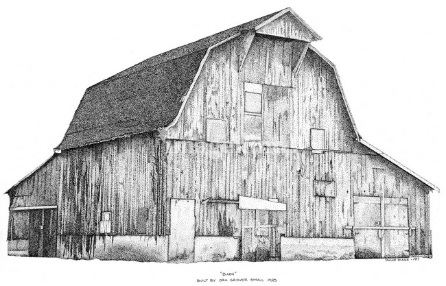 rustic Barn clip art | Pen and Ink Stippled Barn drawing Art Prints by Dulce Diane Clements ...