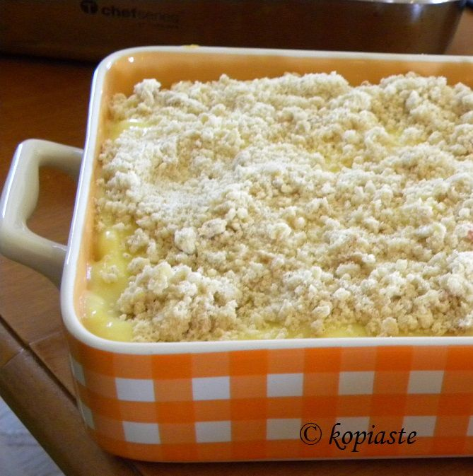 A new recipe was created today: Apricot and Peach Kourabiedes Crumble Pudding http://kopiaste.org/2012/07/cobbler-crisp-crumble-grunt-slump-clafoutis-you-get-the-picture/ In Greek: Σήμερα δημιούργησα μια καινούργια συνταγή:  Κραμπλ Κουραμπιέ με Βερύκοκα και Ροδάκινα Και Κρέμα Πατισερί http://www.kopiaste.info/?p=9889