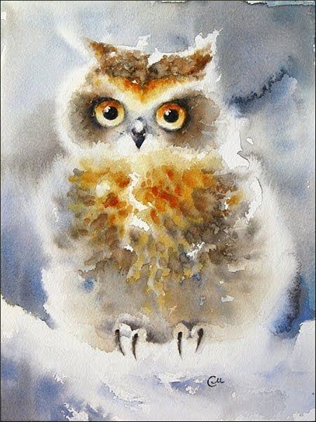 Watercolors by Maria Stezhko (Акварели Марии Стежко): Winter owl