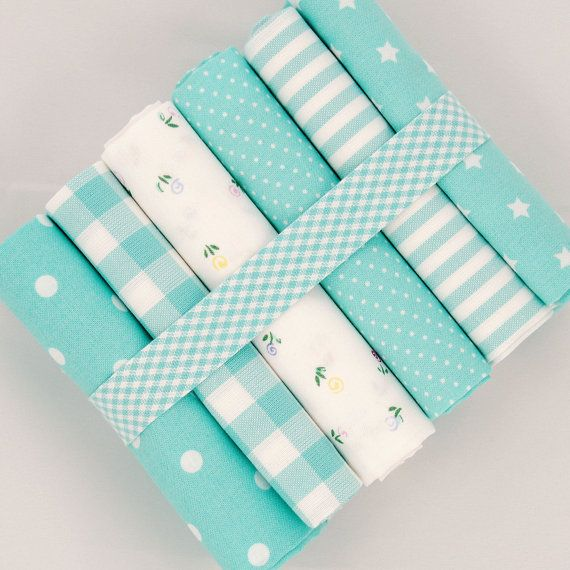 6 x Fat quarter fabric bundle turquoise on white $29.40 by fabricsandfrills