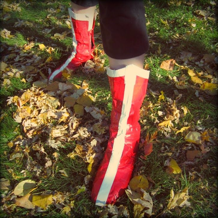DIY Wonder Woman Boots made with Duct Tape - perfect way to finish off your Superheroine costume!