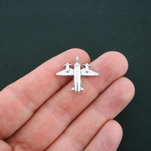 6 Airplane Charms Antique Silver Tone 3D SC4295