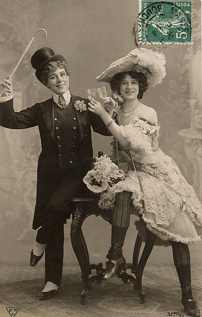 Wedding Gift Ideas For Older Gay Couple : couple cross dress edwardian crossdressing toasting postcard photo ...