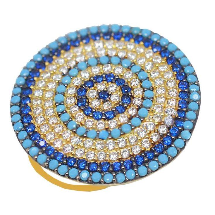 ΕΔ42P- Χρυσό δαχτυλίδι - στόχος με πολύχρωμες πέτρες