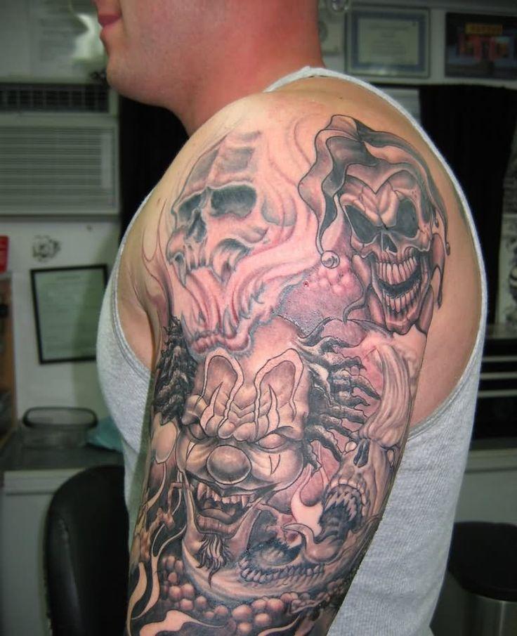 Evil joker skull tattoos evil clown and skull tattoo on for Joker skull tattoo
