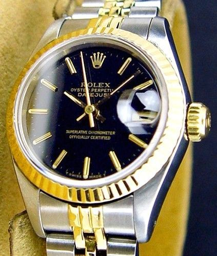 #Forsale Lady #Rolex Datejust 18k Gold SS 2tone W Factory #Rolex Black Dial Original Band - Price @$1,725.00