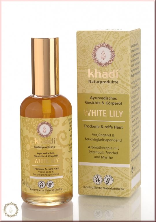 Face- and body Oil White Lily - A daily after shower body oil to keep the skin moisturised & hydrated with oils and herbs which reduce and prevent dryness. Directions: Take 10-15ml and massage face & body. The oil will absorb very fast. Always spray rose water on face & body after massage to hydrate skin.