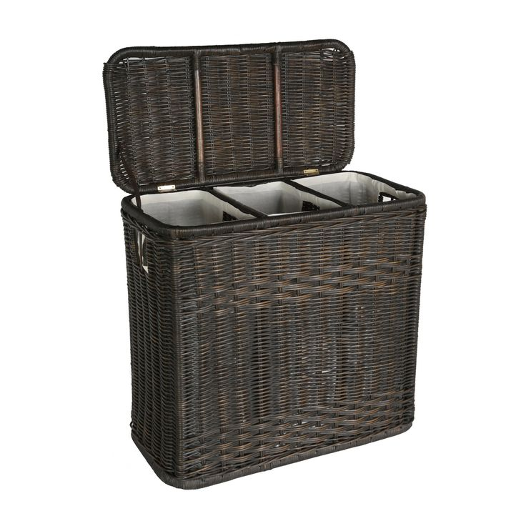 The Basket Lady 3-Compartment Wicker Laundry Hamper in Antique Walnut Brown