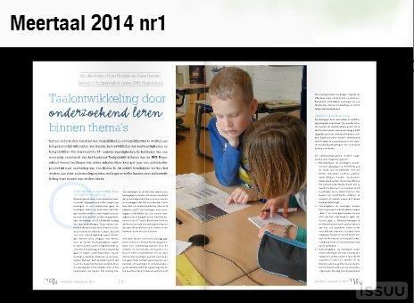 Tijdschrift Meertaal, 2014, nr. 1: Digitale versie. O.a.: Co-teaching, Zinvol lezen in groep 3, Taalontwikkeling door onderzoekend leren, Theaterlezen, Beeldsonnetten Ted van Lieshout, Wikikids.