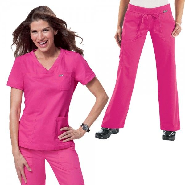 Koi Comfort set in Flamingo. The Koi Comfort Set is a combination of our very comfy Koi Nicole Top and Koi Morgan Trousers. The Koi Nicole Top is an easy to wear, neat style, super comfy top with soft rib-trim detail on the neckline and sleeves.  If you like your comfort, then these Koi Morgan Scrub Trousers are perfect. They are ultra soft and super comfy. £52.50  #nursescrubs #dentistscrubs #nurses #dentists #pinkscrubs #nurseuniform