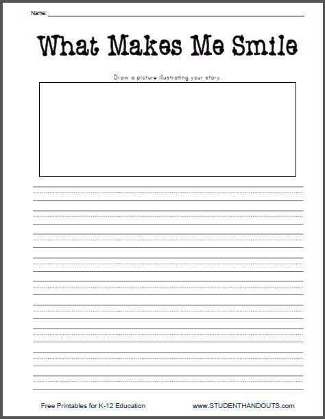 what makes me smile free printable k 2 writing prompt worksheet for little kids second grade. Black Bedroom Furniture Sets. Home Design Ideas