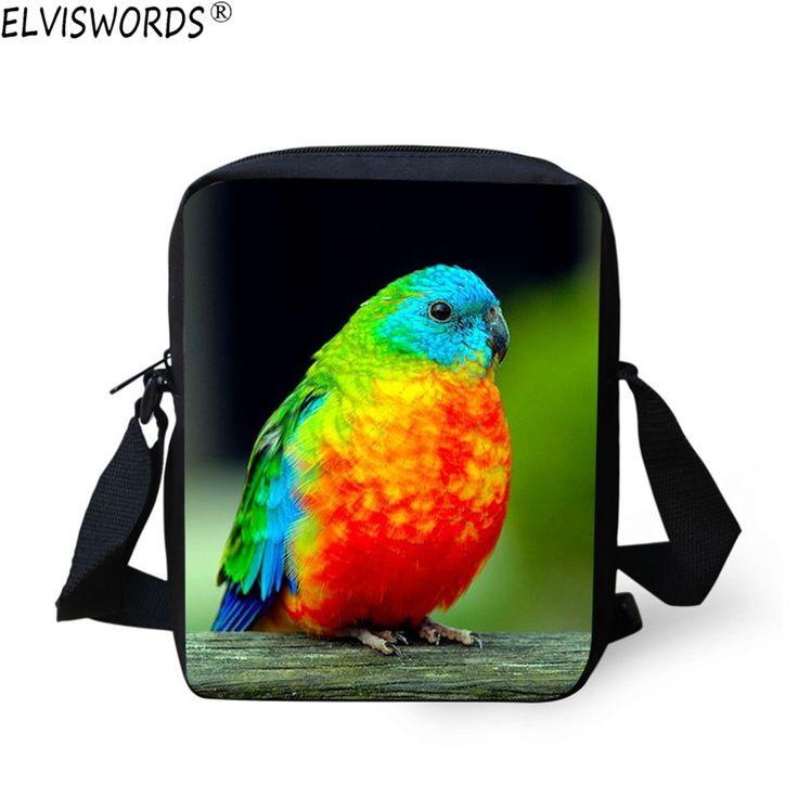ELVISWORDS Mini Animal Zoo School Bag Parrot Print Messenger Bag for Men Fashion Kids Children Satchel Shoulder Bags for School