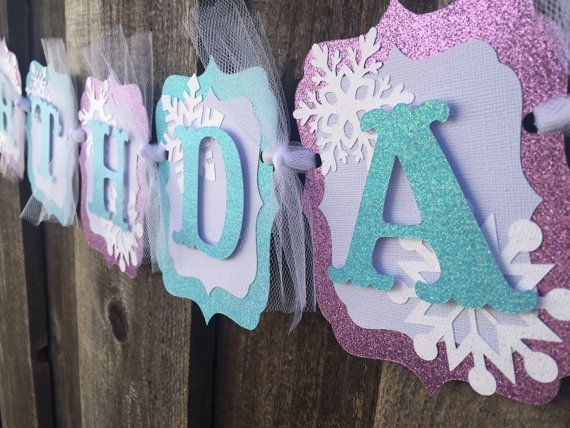 Frozen birthday banner party decorations by CelebrationBanner