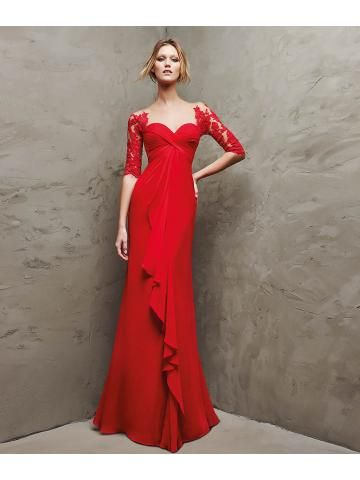 Long red gauze 3/4 sleeves flared Empire dress