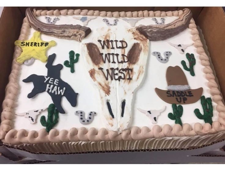 Western themed sheet cake for the cast of the Wild West Halloween extravaganza!