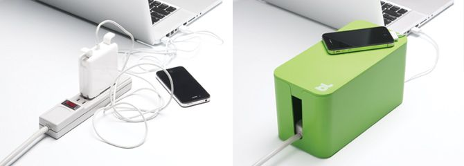 CableBox Mini | bluelounge.com-$29.95 | Under the desk, next to the computer, or near your appliances, cable management has never been more fun or easy. Accessory cables will always be tidy and dust free. Simply plug your device into the supplied surge protector then stow away the surplus cable lenghts and close the lid and done! With cable outlets either side, CableBox Mini is ideal for hiding the cords, adapters and small hubs.
