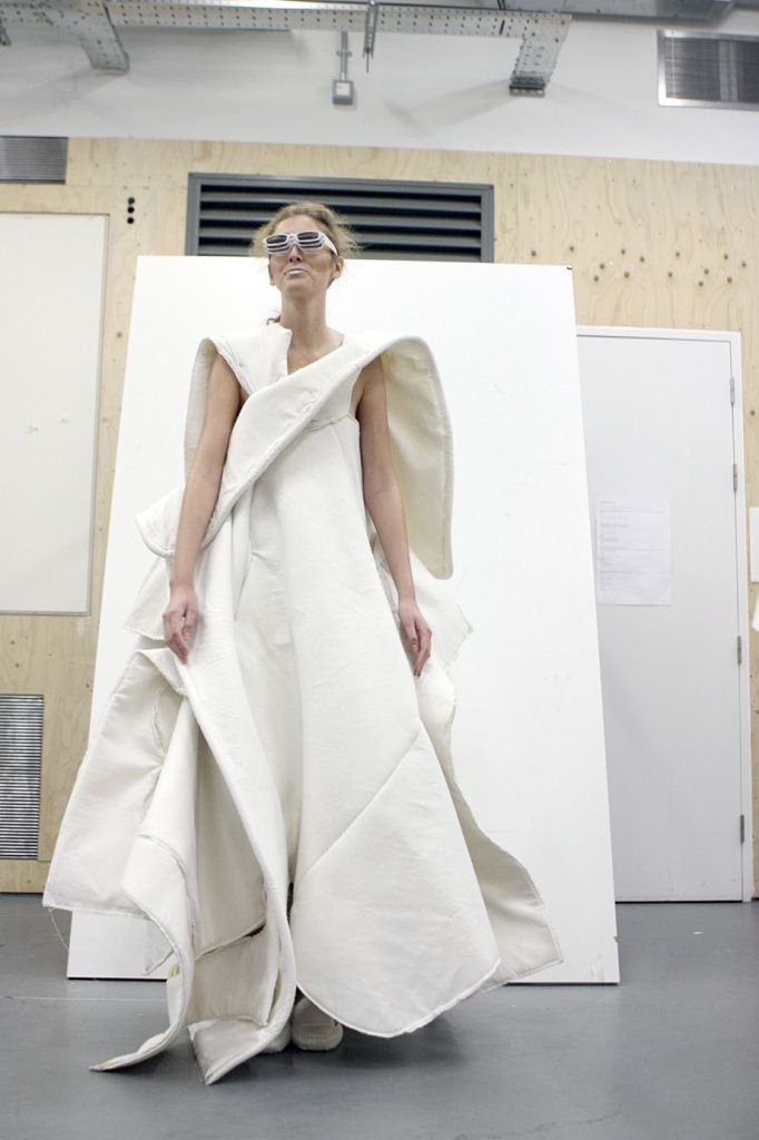 Sculptural Fashion - long dress with soft structure & layered volume // CSM fashion student work, White Show 2013