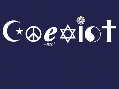 crescent = Islam;  peace =   ;e=mc2 = science;  star of david = judaism;  karma wheel = buddhism;  yin-yang = taoism;  cross = christianity