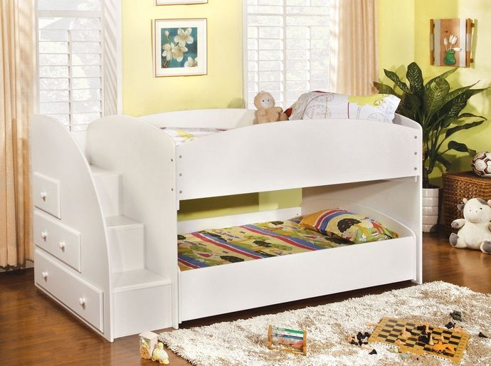 CM-BK921WH-T Merritt white finish wood Twin over twin short style bunk bed with pull out trundle bed on bottom with stairs