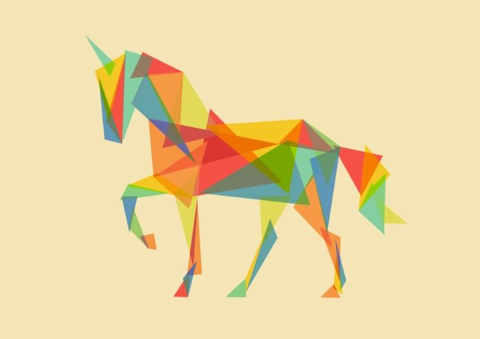 Fractal Geometric Unicorn Art Print