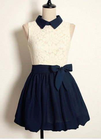 Vintage Flat Collar Color Block High-waisted Sleeveless Lace Pleated Dress For Women