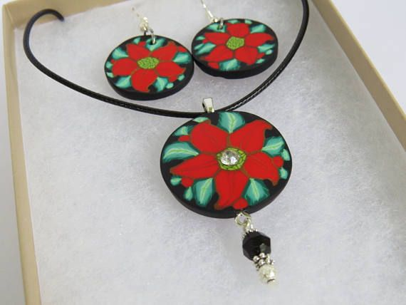 Poinsettia flower Jewelry sets Necklace and Earrings Gift