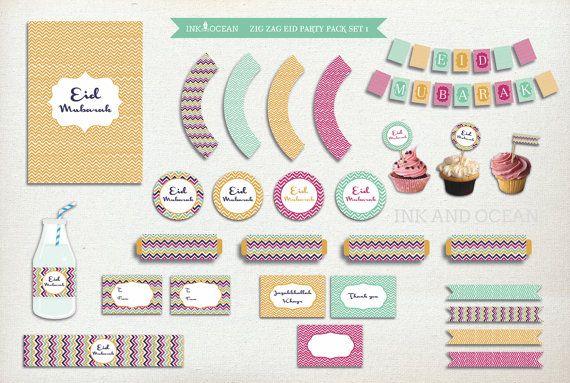 Eid Mubarak Eid party pack DIY Eid Instant Download by inkandocean