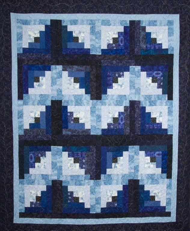 Beautiful Blue Log Cabin Quilt