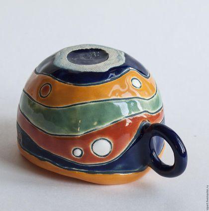 Купить или заказать Комплект чашек 'Шафран' в интернет-магазине на Ярмарке Мастеров. Комплект чайных чашек ручной лепки из белой глины. Внутри - яркая желто-оранжевая шафранная глазурь. Снаружи декор разноцветными глазурями в пряно-восточной гамме. Для душистого горячго чая в преддверии осенних холодов.