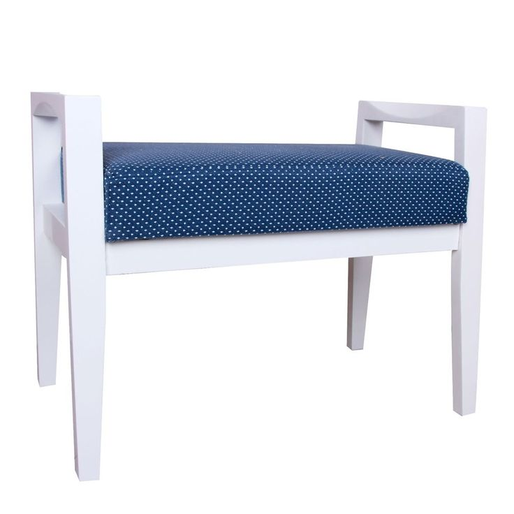 Entry Hallway Bench Home Furniture Blue Whte Banquette Wood Cushion Casual Seat #PorthosHome #Contemporary