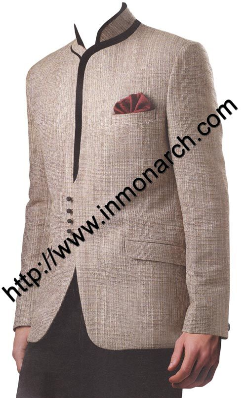 Decent look jodhpuri suit made in natural color linen jute fabric. It has bottom as black trouser. Dryclean only.