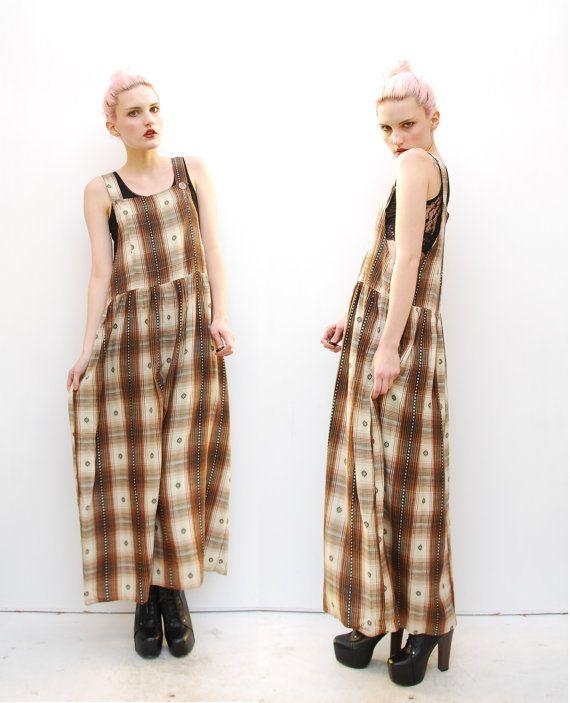 90s Grunge Dress Maxi Dress Ethnic Dress Plaid Dress