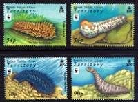 WWF- Sea Cucumbers Mint Set of 4 Stamps British Indian Ocean Territory, 2008