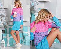 Вязанное платье  розово-голубое