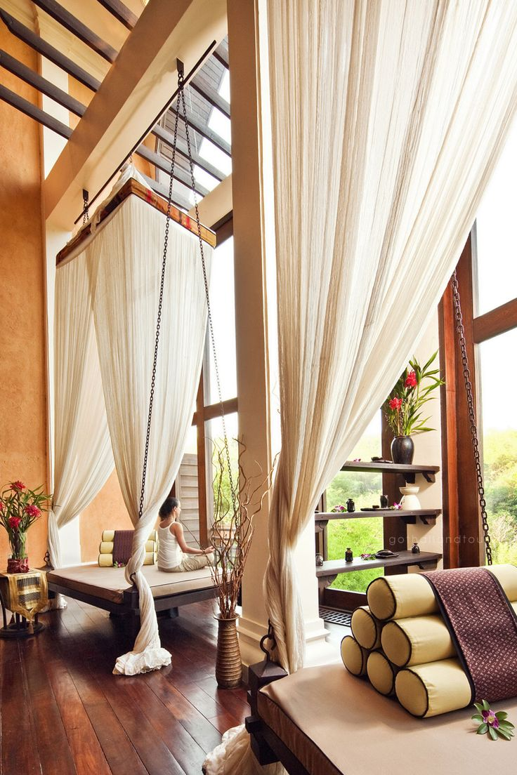 Massage outdoors, surrounded by verdant rice fields and tropical landscaping @ Anantara Golden Triangle Elephant Camp & Resort, Chiang Rai - Thailand http://www.gothailandtours.com/en/thailand/detail.html